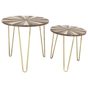 Uma Enterprises Inc Accent Furniture Metal Wood Tables Set Of 2
