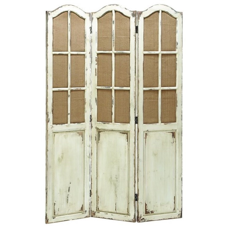 Wood Canvas 3 Panel Screen