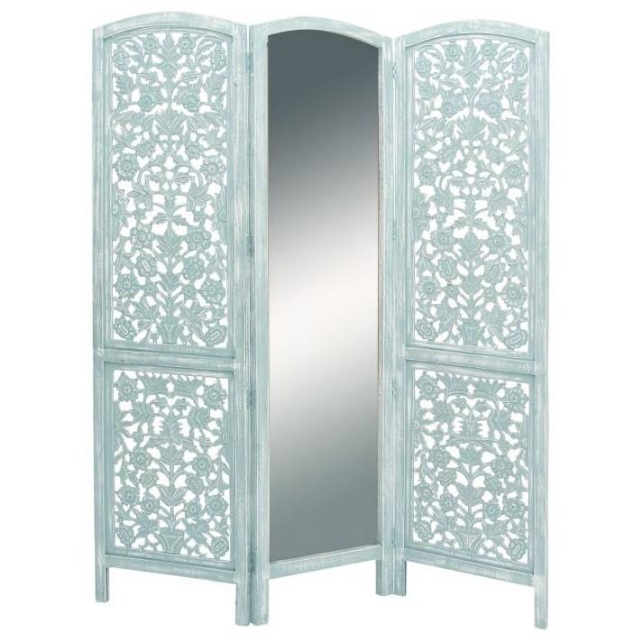 Wood/Mirror 3 Panel Screen