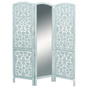 UMA Enterprises, Inc. Accessories Wood/Mirror 3 Panel Screen