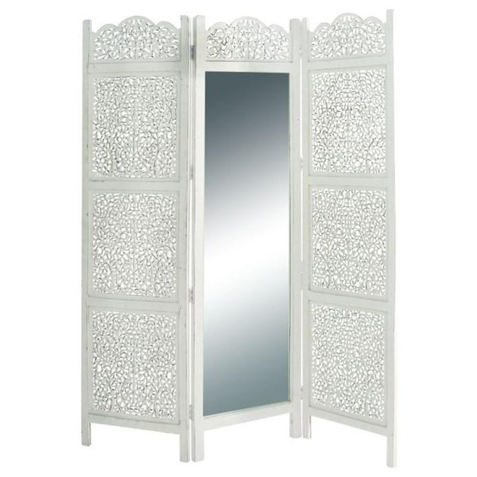 Wood Mirror 3 Panel Screen