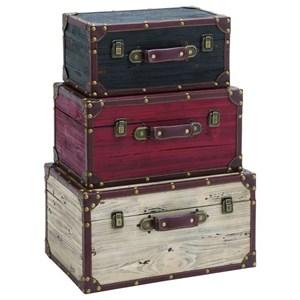UMA Enterprises, Inc. Accessories Wood Trunks, Set of 3