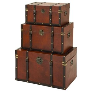 UMA Enterprises, Inc. Accessories Wood/Faux Leather Trunks, Set of 3