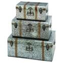 UMA Enterprises, Inc. Accessories Galvanized Metal Trunks, Set of 3 - Item Number: 38155