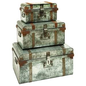 UMA Enterprises, Inc. Accessories Metal Galvanized Trunks, Set of 3