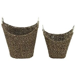 UMA Enterprises, Inc. Accessories Seagrass Metal Baskets, Set of 2