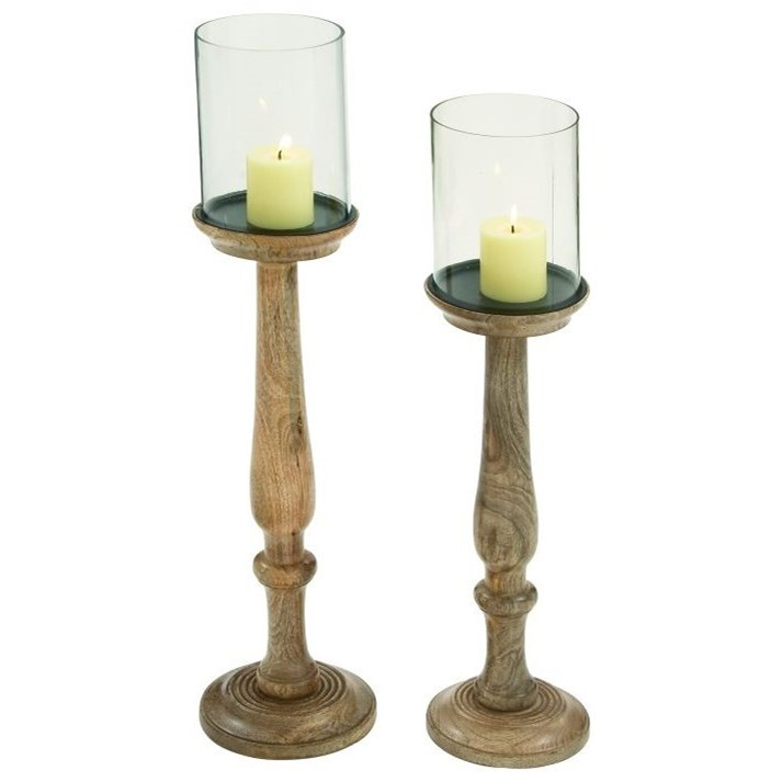 Wood/Glass Candle Holders, Set of 2