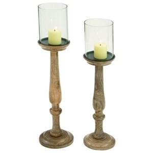 UMA Enterprises, Inc. Accessories Wood/Glass Candle Holders, Set of 2