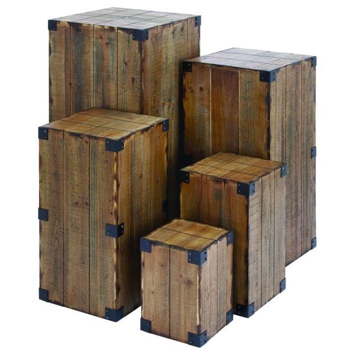 Wood Pedestals, Set of 5