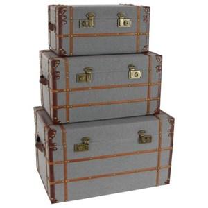 UMA Enterprises, Inc. Accessories Burlap Fabric Trunks, Set of 3