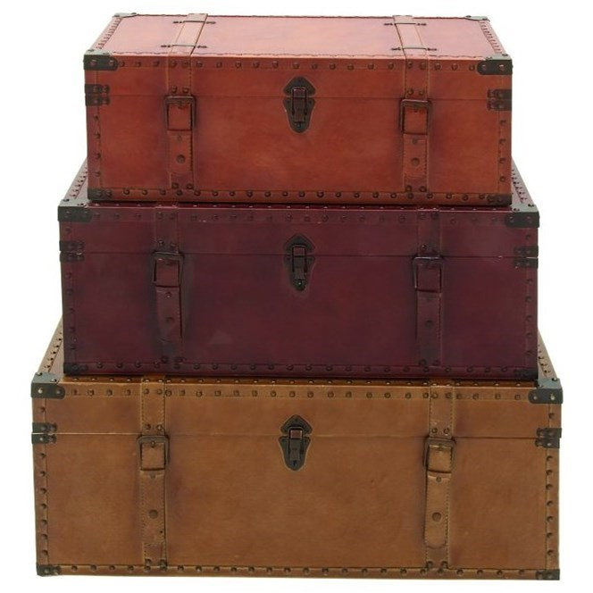 Wood/Faux Leather Trunks, Set of 3