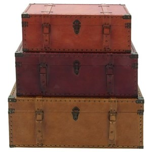UMA Enterprises, Inc. Accessories Wood/Faux Leather Trunks, Set of 3