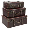 UMA Enterprises, Inc. Accessories Wood/Leather Cases, Set of 3 - Item Number: 56976
