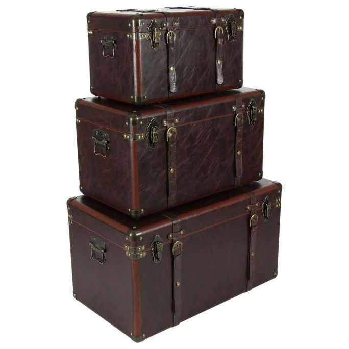Wood/Leather Trunks, Set of 3