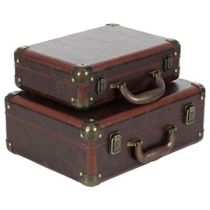 Leather Suitcase Boxes, Set of 2