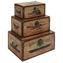UMA Enterprises, Inc. Accessories Wood/Faux Leather Trunks, Set of 3 - Item Number: 62230