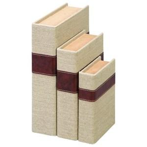 UMA Enterprises, Inc. Accessories Wood Burlap Book Boxes, Set of 3