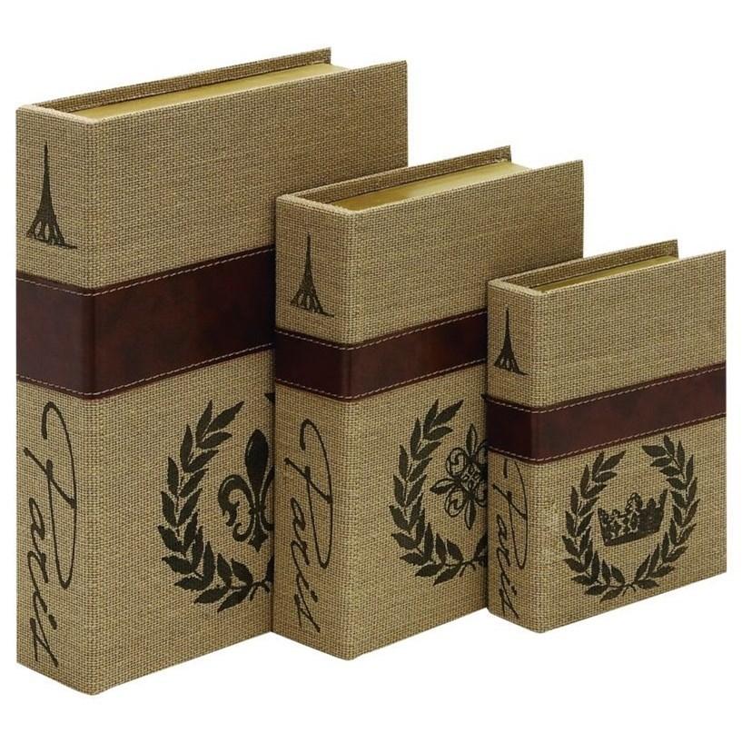 Wood/Burlap Book Boxes, Set of 3