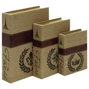 UMA Enterprises, Inc. Accessories Wood/Burlap Book Boxes, Set of 3