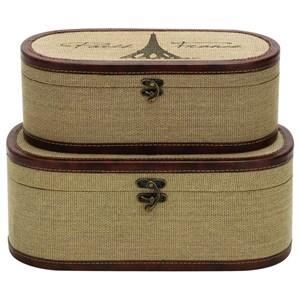 UMA Enterprises, Inc. Accessories Wood Burlap Boxes, Set of 2