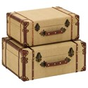 UMA Enterprises, Inc. Accessories Burlap Trunks, Set of 2 - Item Number: 62258