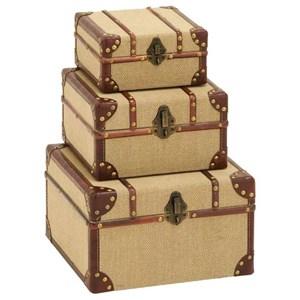 UMA Enterprises, Inc. Accessories Burlap Trunks, Set of 3