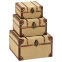 UMA Enterprises, Inc. Accessories Burlap Trunks, Set of 3 - Item Number: 62260