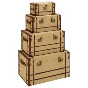 UMA Enterprises, Inc. Accessories Burlap Trunks, Set of 4