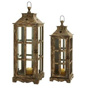 UMA Enterprises, Inc. Accessories Wood/Glass Lanterns, Set of 2