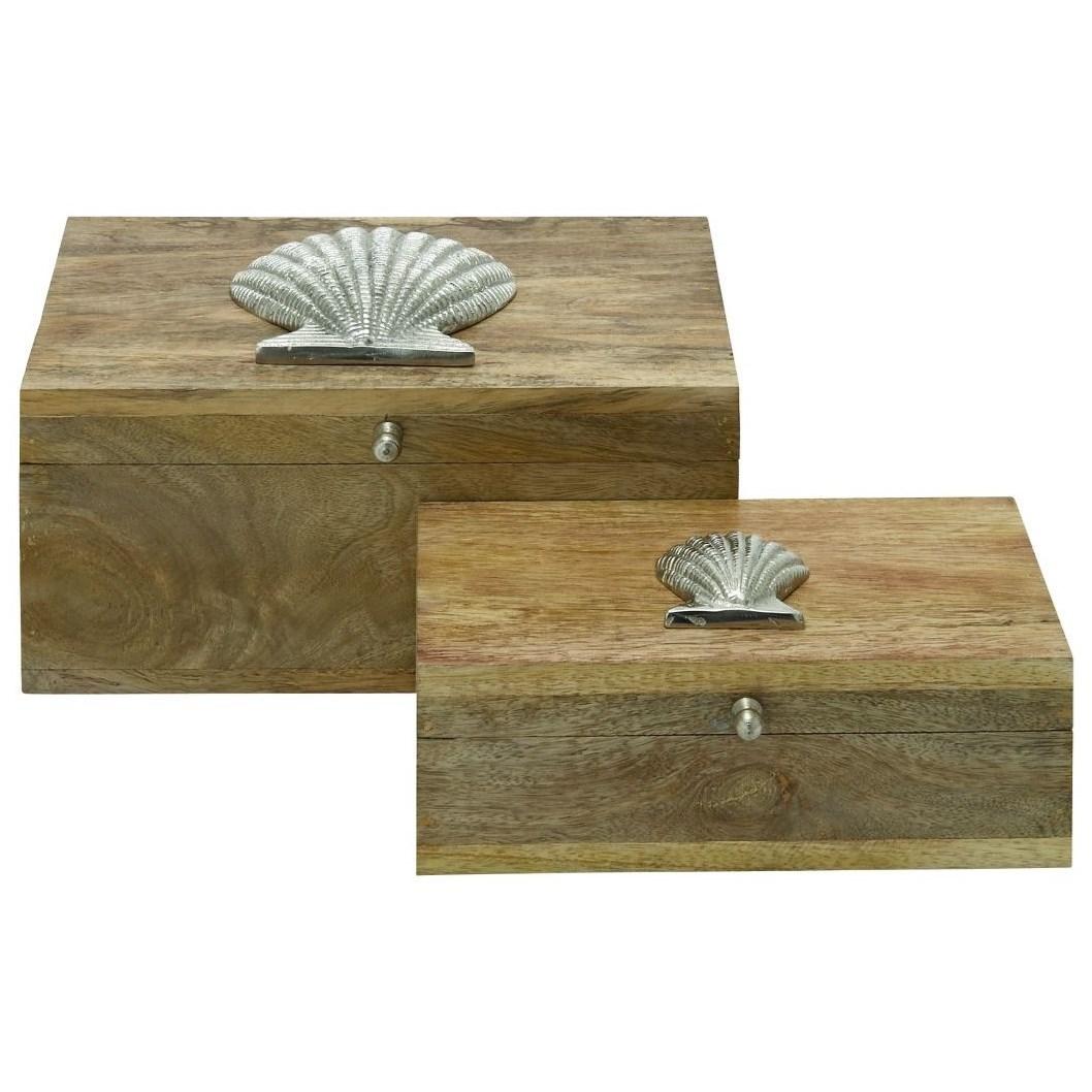 Wood/Metal Boxes, Set of 2