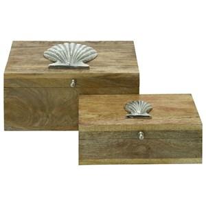 UMA Enterprises, Inc. Accessories Wood/Metal Boxes, Set of 2