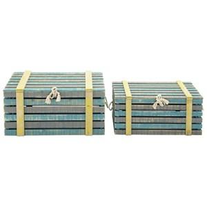 UMA Enterprises, Inc. Accessories Wood Trunks, Set of 2