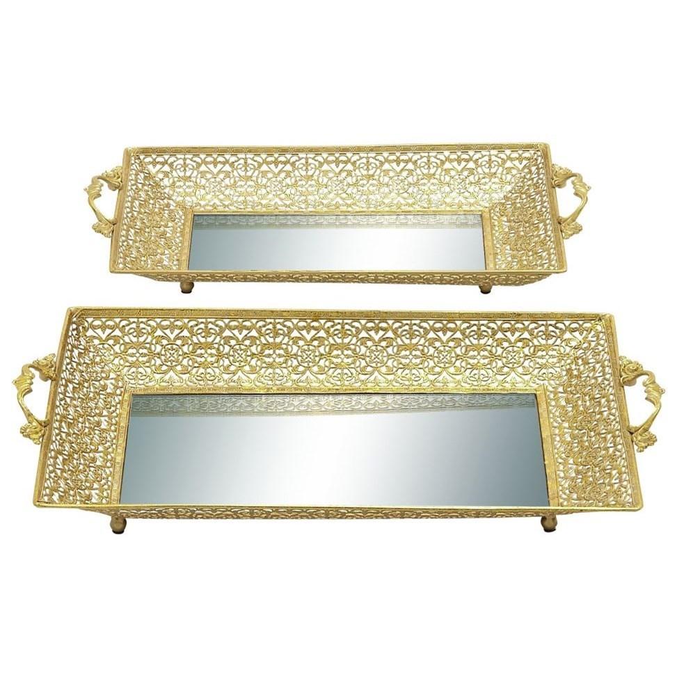 Metal Mirror Trays, Set of 2