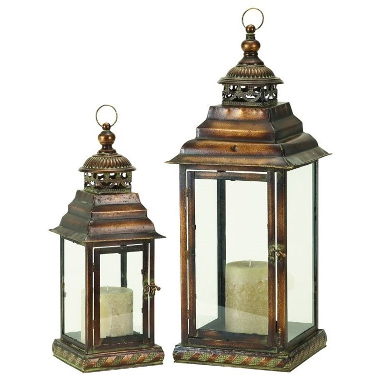 Metal/Glass Lanterns, Set of 2