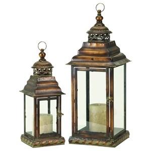 UMA Enterprises, Inc. Accessories Metal/Glass Lanterns, Set of 2