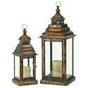 UMA Enterprises, Inc. Accessories Metal/Glass Lanterns, Set of 2 - Item Number: 72281