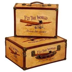 UMA Enterprises, Inc. Accessories Wood/ Faux Leather Trunks, Set of 2