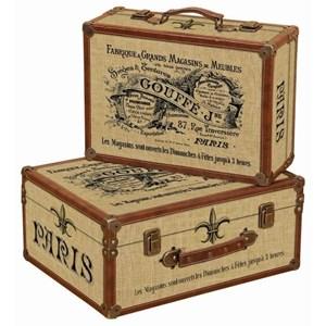 UMA Enterprises, Inc. Accessories Wood/Faux Leather Trunks, Set of 2