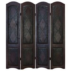 UMA Enterprises, Inc. Accessories Wood/Faux Leather 4 Panel Screen