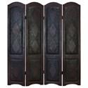UMA Enterprises, Inc. Accessories Wood/Faux Leather 4 Panel Screen - Item Number: 81696