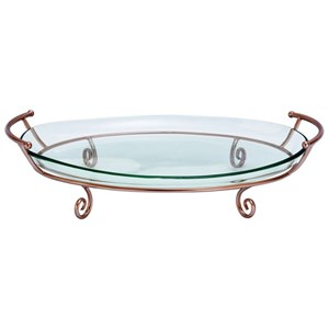 UMA Enterprises, Inc. Accessories Metal/Glass/Copper Tray