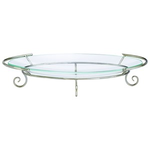 UMA Enterprises, Inc. Accessories Metal/Glass Silver Tray