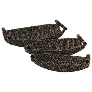 UMA Enterprises, Inc. Accessories Seagrass Metal Baskets, Set of 3