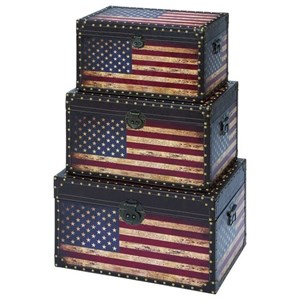 UMA Enterprises, Inc. Accessories Wood Trunks, Set of 3