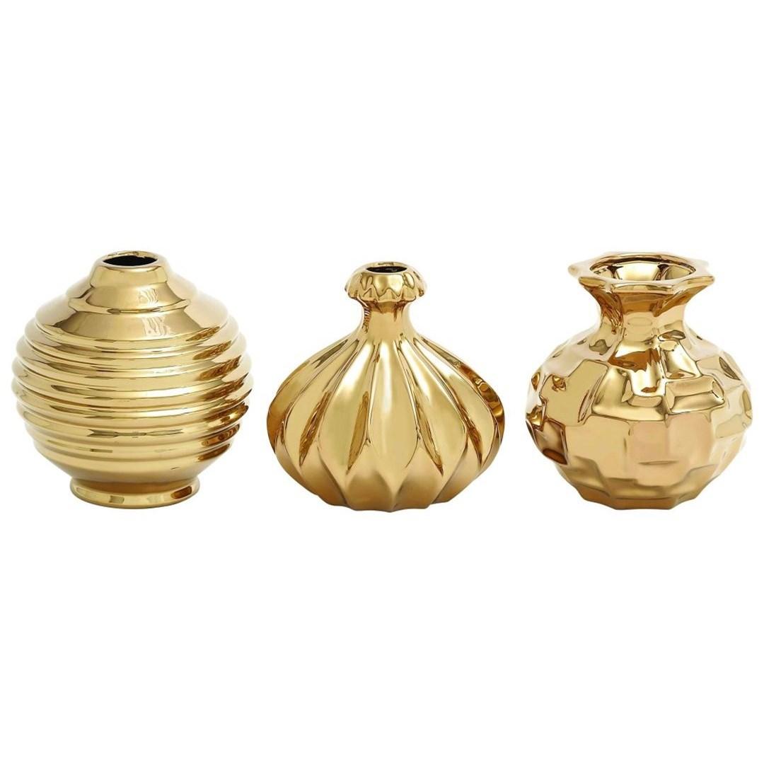 Ceramic Gold Vases, Set of 3