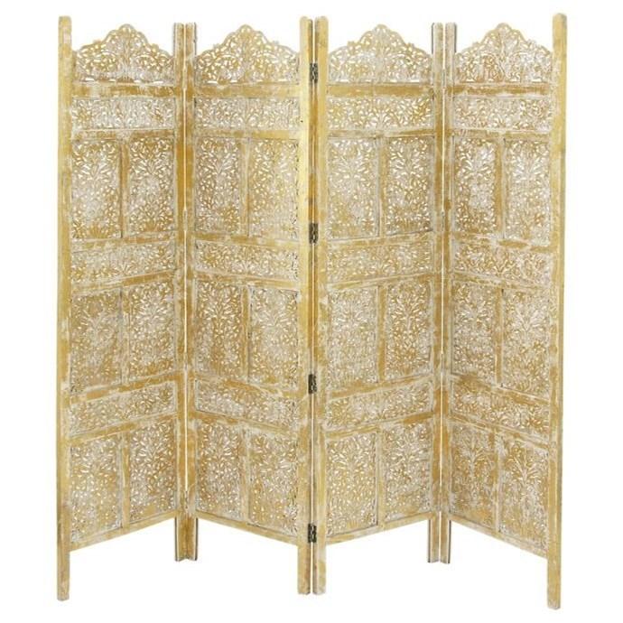 Wood Gold 4 Panel Screen