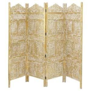 UMA Enterprises, Inc. Accessories Wood Gold 4 Panel Screen