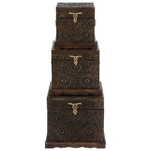 UMA Enterprises, Inc. Accessories Wood Carved Trunks, Set of 3