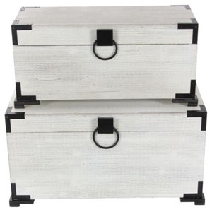 UMA Enterprises, Inc. Accessories Wood Trunks, Set of 2