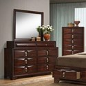 Simmons Upholstery 1012 Roswell 8 Drawer Dresser and Mirror - Item Number: 1012-10+20